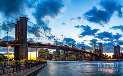 Photograph - Brooklyn Bridge Evening by Nick Zelinsky