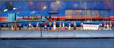 Brooklyn Bridge Fireworks Art Print by Bonnie Siracusa