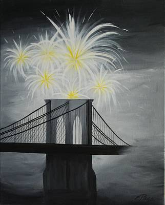 July 4th Painting - Brooklyn Bridge Fireworks by Emily Page