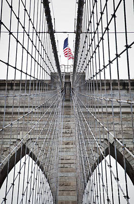 Photograph - Brooklyn Bridge Flag by Peter Simmons