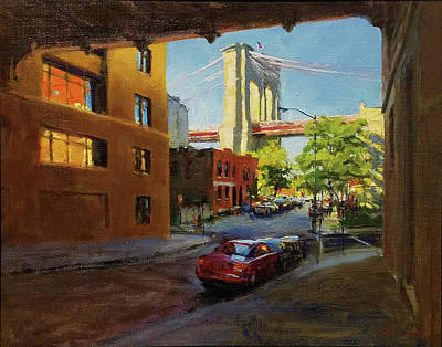 Painting - Brooklyn Bridge From Everit Street by Peter Salwen
