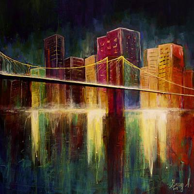 Brooklyn Bridge Art Print by Gray  Artus