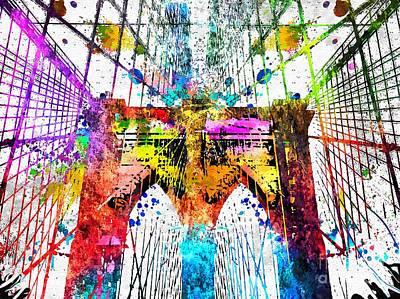 Brooklyn Bridge Mixed Media - Brooklyn Bridge Grunge by Daniel Janda
