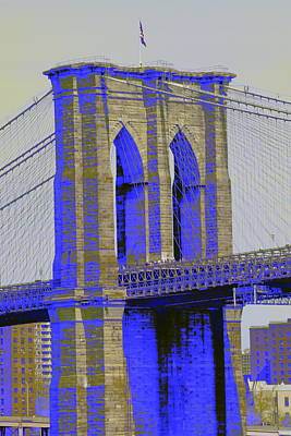 Brooklyn Bridge In Blue Art Print