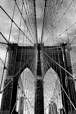 Brooklyn Bridge In Monochrome Art Print