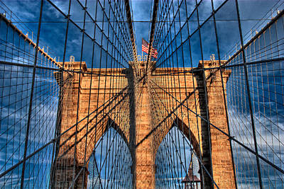 Photograph - Brooklyn Bridge In The Golden Light by Val Black Russian Tourchin