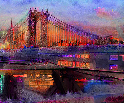 Digital Art - Brooklyn Bridge by Iowan Stone-Flowers