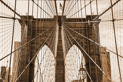 Photograph - Brooklyn Bridge Sepia by Jennifer Lycke