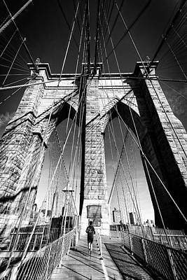 Photograph - Brooklyn Bridge Jog by Alan Raasch