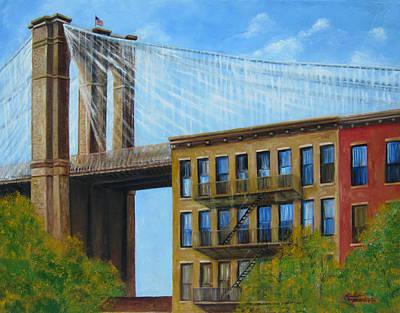Brownstone Painting - Brooklyn  Bridge by Leonardo Ruggieri