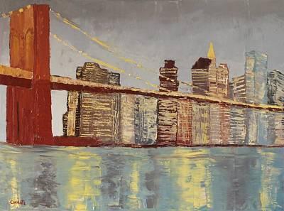 World War Two Production Posters - Brooklyn Bridge Lights by Marino Chanlatte