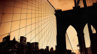 Nyc Digital Art - Brooklyn Bridge by Maye Loeser