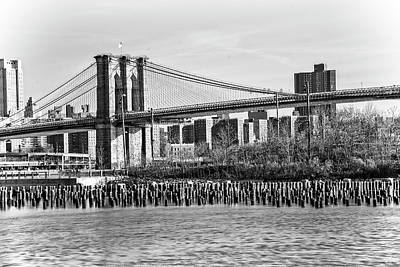 Photograph - Brooklyn Bridge Monochrome by Alan Raasch