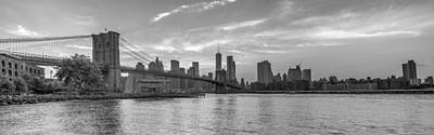 Photograph - Brooklyn Bridge Monochrome Panoramic by Scott McGuire