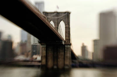 Selective Focus Photograph - Brooklyn Bridge, New York City by Photography by Steve Kelley aka mudpig