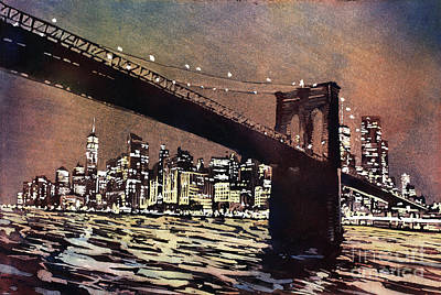 Painting - Brooklyn Bridge- New York City by Ryan Fox