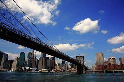 Photograph - Brooklyn Bridge - New York City Skyline 2 by Frank Romeo