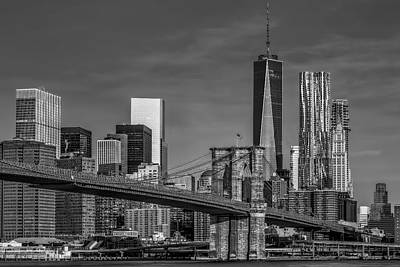 Photograph - Brooklyn Bridge New York City Sunrise Bw by Susan Candelario