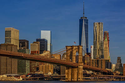 Photograph - Brooklyn Bridge New York City Sunrise by Susan Candelario