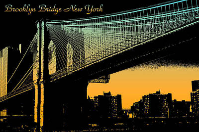 Mixed Media - Brooklyn Bridge New York Poster by Peter Potter
