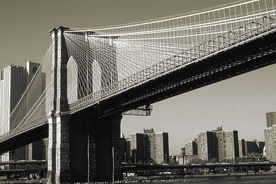 Photograph - Old New York Photo - Brooklyn Bridge by Peter Potter