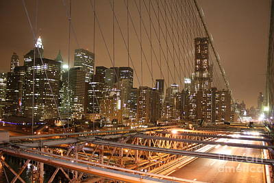 Photograph - Brooklyn Bridge Night Sky by Wilko Van de Kamp