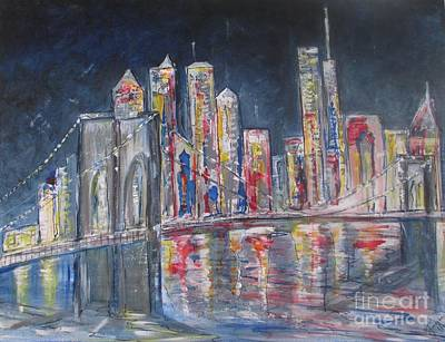 Painting - Brooklyn Bridge Ny by Jacqui Hawk