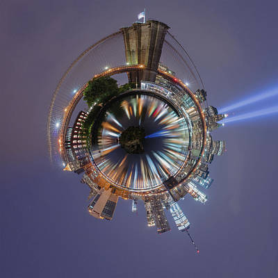 Photograph - Brooklyn Bridge Ny Little Planet  by Emmanuel Panagiotakis