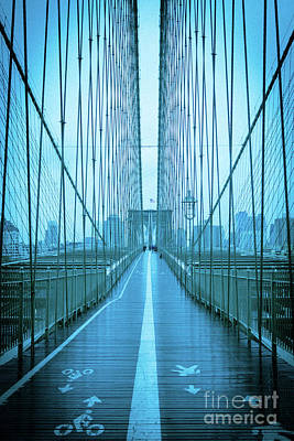 Photograph - Brooklyn Bridge Nyc Blue D by Edward Fielding