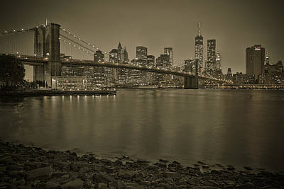 Photograph - Brooklyn Bridge Nyc Skyline Sepia by Susan Candelario