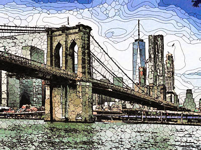 Painting - Brooklyn Bridge Over East River by Jeelan Clark