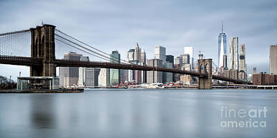 Brooklyn Bridge Panorama Color Art Print