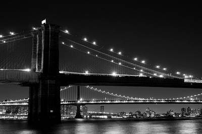 Photograph - Brooklyn Bridge Pearls Bw by Rospotte Photography