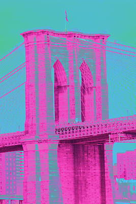 Photograph - Brooklyn Bridge Pink by Christopher Kirby