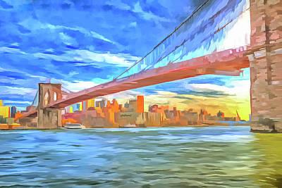 Photograph - Brooklyn Bridge Pop Art by David Pyatt