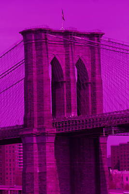 Photograph - Brooklyn Bridge Purple by Christopher Kirby
