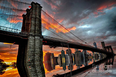 Photograph - Brooklyn Bridge Reflection by Mark Gilman