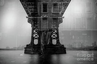 Photograph - Brooklyn Bridge Reflections Nyc by Edward Fielding