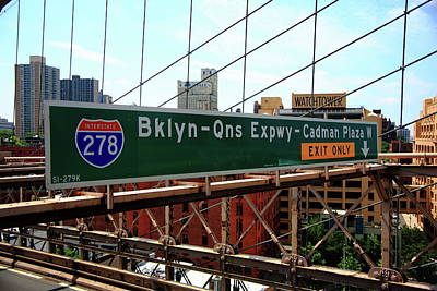 Photograph - Brooklyn Bridge Road Signs by Frank Romeo