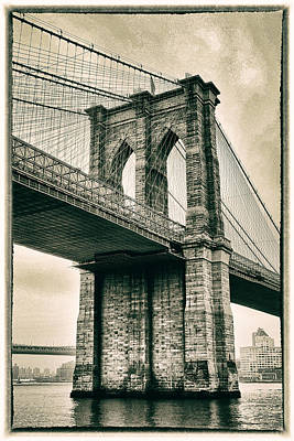 Brooklyn Bridge Sepia Art Print