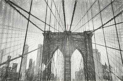 Digital Art - Brooklyn Bridge Sketch by Erika Weber
