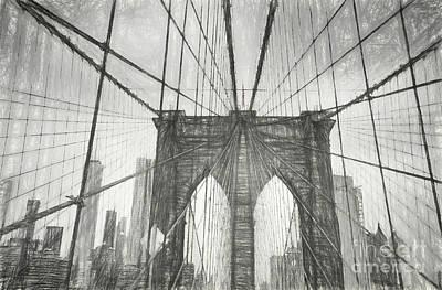 Digital Art - Brooklyn Bridge Sketch by Erika Weber