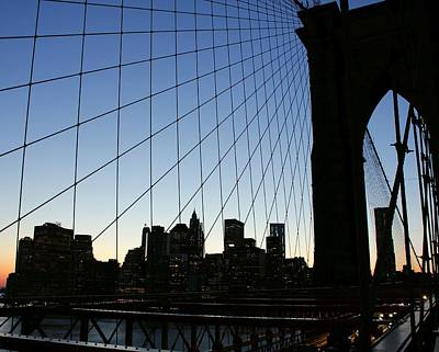 Photograph - Brooklyn Bridge Sunset by Karin Kohlmeier