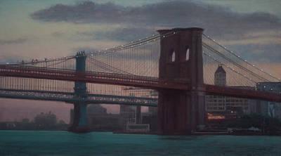 Painting - Brooklyn Bridge Sunset by Walter Lynn Mosley