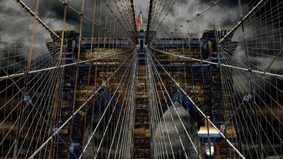 River Scenes Photograph - Brooklyn Bridge - Surreal by Stephen Stookey