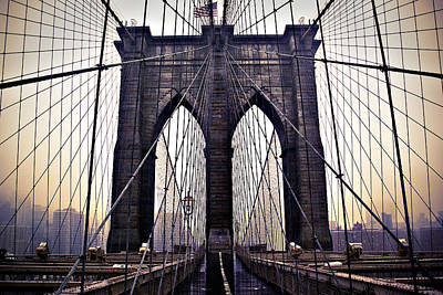 Brooklyn Bridge Suspension Cables Art Print by Ray Devlin