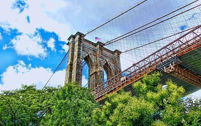 Photograph - Brooklyn Bridge Tower by Allen Beatty