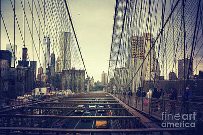 Abstract Skyline Rights Managed Images - Brooklyn Bridge Traffic Royalty-Free Image by Joan McCool