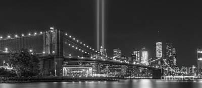 911 Memorial Photograph - Brooklyn Bridge Tribute In Light Bw by Michael Ver Sprill