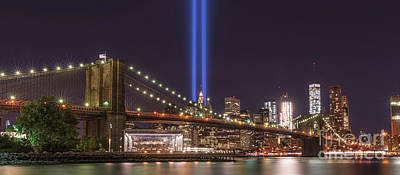 911 Memorial Photograph - Brooklyn Bridge Tribute In Light by Michael Ver Sprill